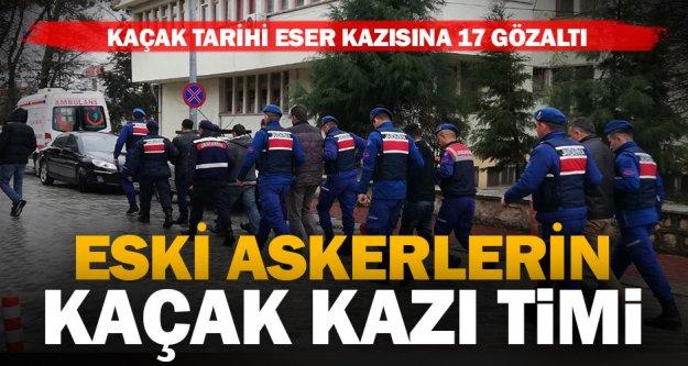 Denizli'de kaçak tarihi eser kazısına 17 gözaltı