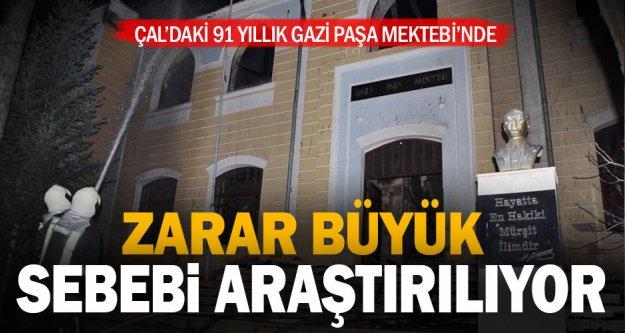 Tarihi Gazi Paşa Mektebi'nde çıkan yangının sebebi araştırılıyor