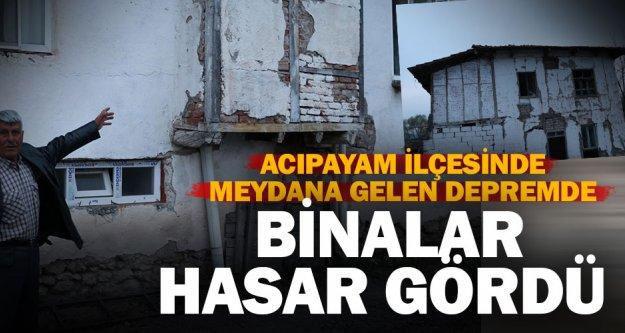 Acıpayam'daki depremde binalar hasar gördü