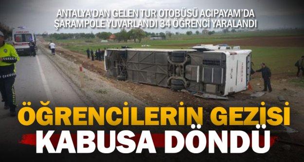 Antalyalı öğrencileri taşıyan tur otobüsü devrildi: 34 yaralı