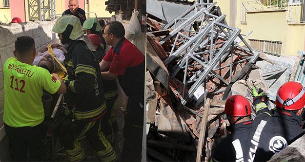 Apartman önüne kurulan iskele devrildi: 2 işçi yaralı