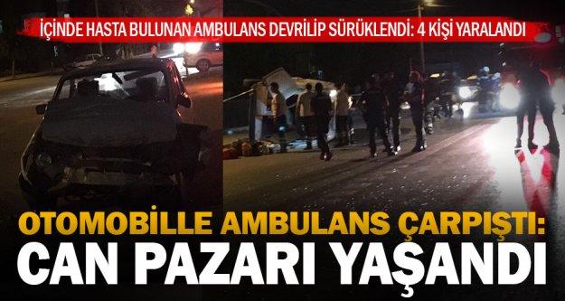 Ambulans ile otomobil çarpıştı: 7 yaralı