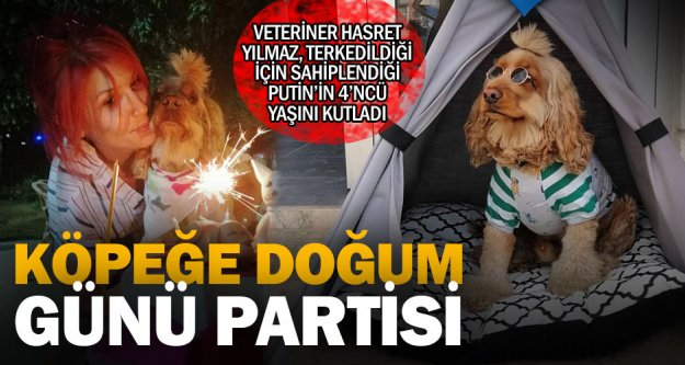 Köpeği için doğum günü partisi düzenledi