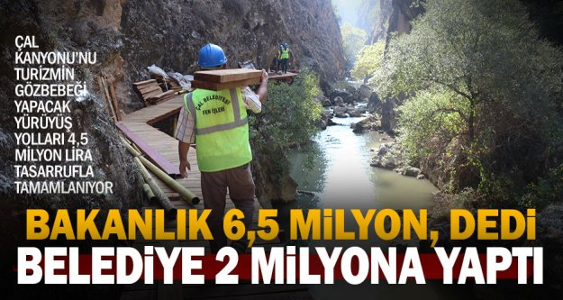 Çal Kanyonu'nu turizme kazandıracak yürüyüş yolları tamamlanıyor