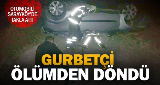 Otomobili takla atan gurbetçi vatandaş yaralandı