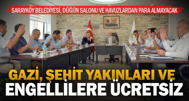 Sarayköy Belediyesi, şehit ve gazi yakınları ile engellilerden tesis parası almayacak
