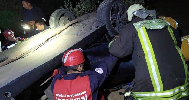 Otomobil tarlaya uçtu 4 kişi yaralandı