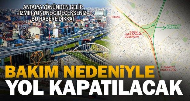 Antalya-İzmir yolunda rutin bakım çalışması