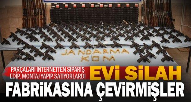 Bozkurt'ta  silah atölyesine çevrilen evde 94 tabanca ve 27 av tüfeği bulundu