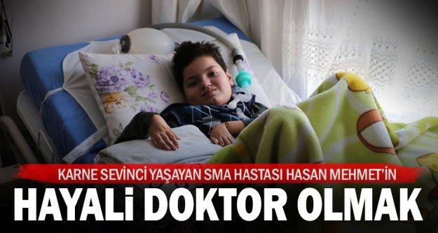 SMA hastası Hasan Mehmet karnesini aldı