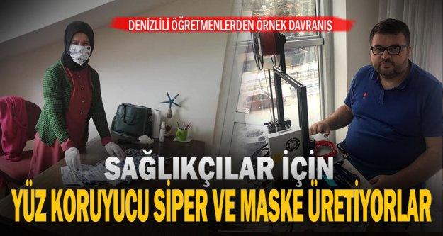 Denizli'de öğretmenler sağlıkçılar için 'yüz koruyucu siper' ile maske üretiyor