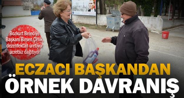 Bozkurt Belediye Başkanı Birsen Çelik, dezenfektan üretiyor ücretsiz dağıtıyor
