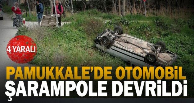 Pamukkale'de otomobil şarampole devrildi