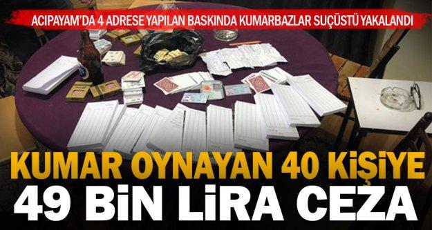 Acıpayam'da kumar oynayan 40 kişiye 49 bin lira ceza
