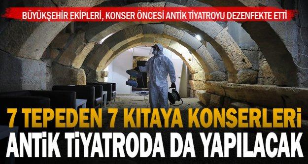 Konser öncesi Hierapolis Antik Tiyatro dezenfekte edildi