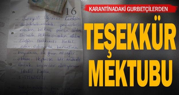 Öğrenci yurdunda karantinada kalan vatandaşlar teşekkür mektubu bıraktı