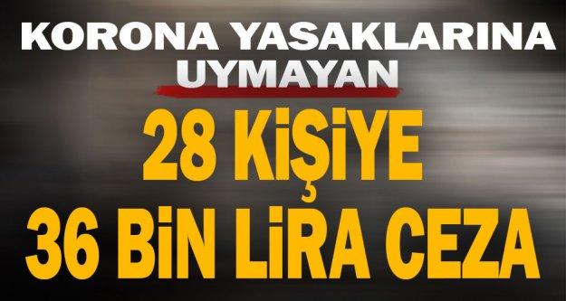 28 kişiye 36 bin lira korona cezası