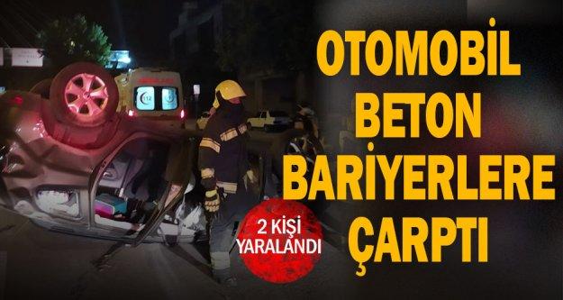 Otomobil beton bariyerlere çarptı: 2 yaralı