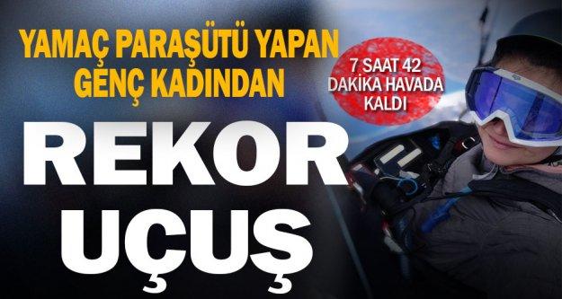 Yamaç paraşütü sporcusu Gülşah Hoş'tan,Denizli'den Afyonkarahisar'a 'rekor' uçuş