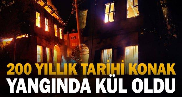 Denizli'de yaklaşık 200 yıllık tarihi konak yangında ağır hasar gördü