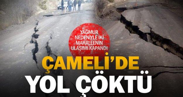 Çameli'de yağıştan dolayı yolda çökme meydana geldi