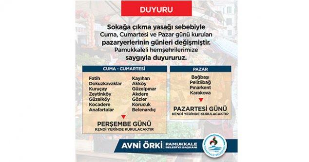 Pamukkale'de pazarların günü değişti