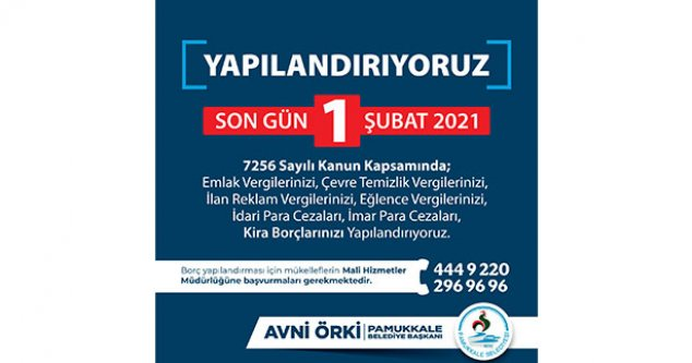 Pamukkale Belediyesi uyardı: Yapılandırmada son gün 1 Şubat