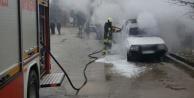 Acıpayam'da araç yangını, kundaklama iddiası