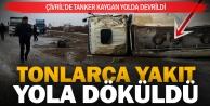 Çivril'de yakıt tankeri devrildi