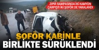 Denizli-Uşak yolunda iki kamyon çarpıştı