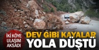 Honaz'daki heyelanda dev kayalar yola döküldü