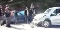 İki araç virajda çarpıştı
