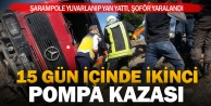 Beyağaç'ta beton pompası şarampole yuvarlandı