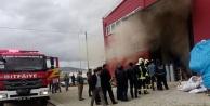 Serinhisar'da leblebi imalathanesinde yangın