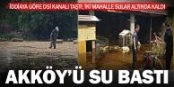Akköy ve Aziziye'de su baskını