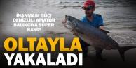 Denizlili amatör balıkçı oltayla 20 kiloluk akya yakaladı