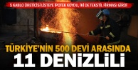 Türkiyenin 500 büyük sanayi kuruluşundan 11i Denizlili