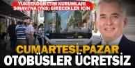 Büyükşehir otobüsleri YKS ye gireceklere ücretsiz