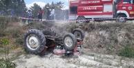 Traktörün altında kalan çiftçi ağır yaralandı