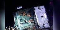 Yolcu otobüsü yan yattı, 16 kişi yaralandı