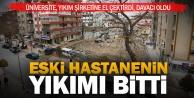 Eski PAÜ hastanesinin tehlikeli yıkımı tamamlandı