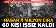 Yangın çıkan fabrikada 4 milyon liralık hasar