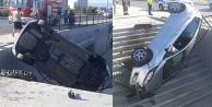 Alt geçide düşen otomobilin sürücüsü yaralandı