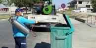 Merkezefendi'de çöp konteynırları ilaçlandı ve yıkandı