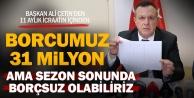 Denizlispor#039;da borç 31 milyon TL