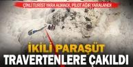 Pamukkale#039;de travertenlere düşen yamaç paraşütü pilotu yaralandı