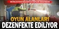 Merkezefendi Belediyesi çocuk oyun alanlarını dezenfekte ediyor