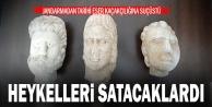 Pamukkalede tarihi eser kaçakçılığı operasyonunda üç heykel başı ele geçirildi