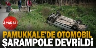 Pamukkale#039;de otomobil şarampole devrildi