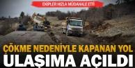 Denizli'de çökme nedeniyle kapanan yol ulaşıma açıldı